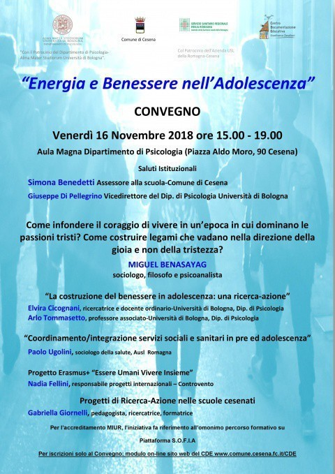 Pomeriggio Di Studi Energia E Benessere Nell Adolescenza Cesena 16 Novembre 2018