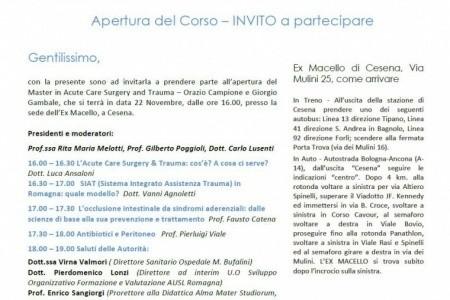 """Il Master """"Acute Care Surgery And Trauma"""" festeggia la sua apertura, il 22 novembre a Cesena"""